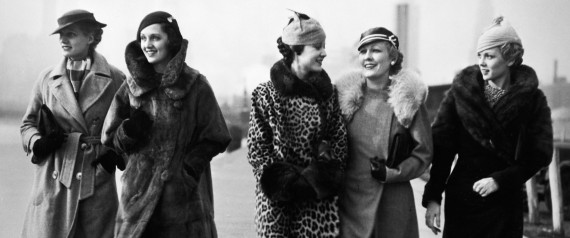 1930s FIVE WOMEN WALKING WEARING WINTER FUR COATS